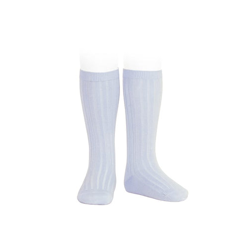 Ribbed Knee Socks -  Baby Blue