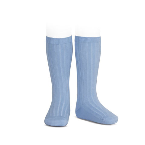 Ribbed Knee Socks - Carolina Blue (Bluish)