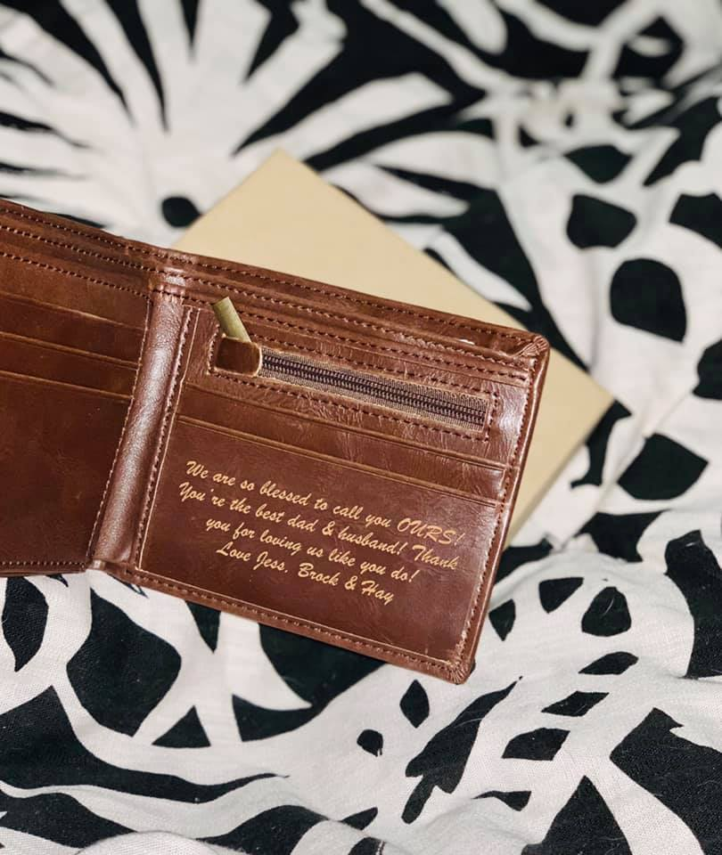 Brown leather wallet | Personalized leather wallet
