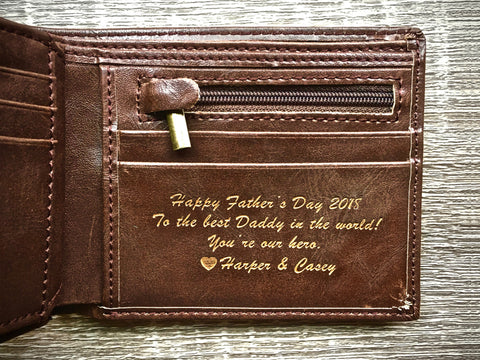 leather wallet with a message