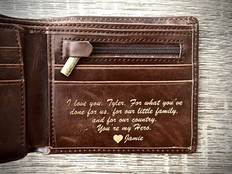 Leather wallet with a love note inside | custom leather wallets for men | wallets