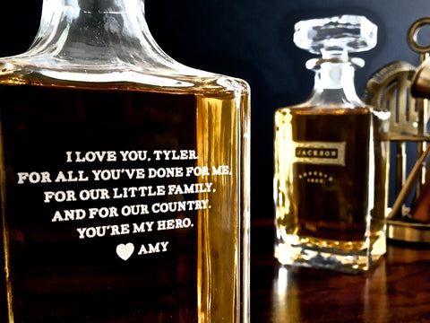 whiskey decanter with message | Personalized whiskey decanter