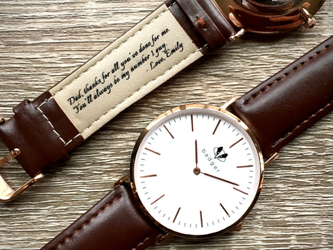 classic watch with a message on belts | watch with leather belts