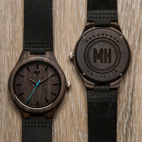 wooden watch with black leather belts | personalized watches for men | custom watches