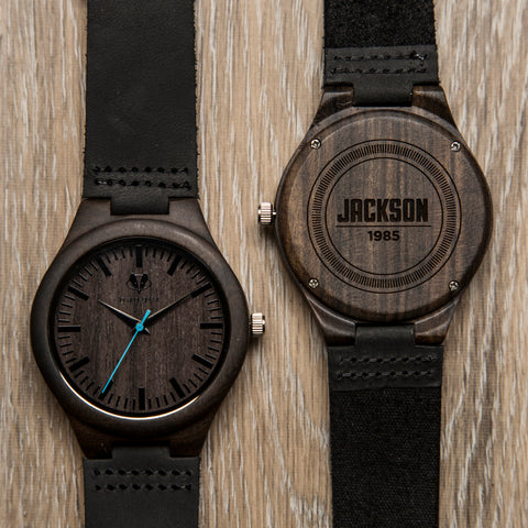 black wooden watch with black belts | a set of two watches