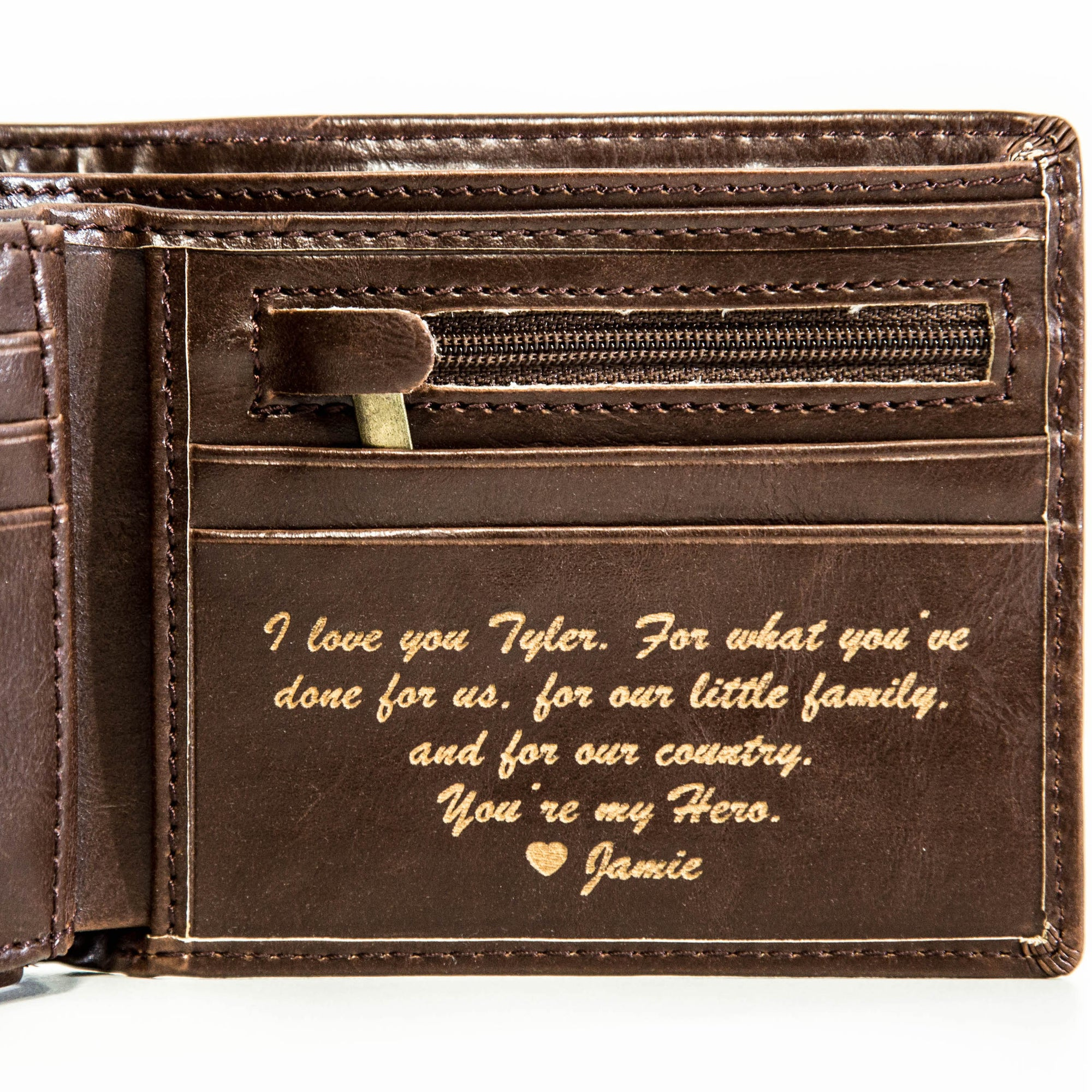 Personalized leather wallet with a special note