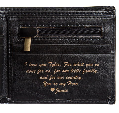 black leather wallet | Personalized leather wallet