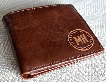 Brown leather wallet with initials | brown leather wallet for groomsmen | gifts for him
