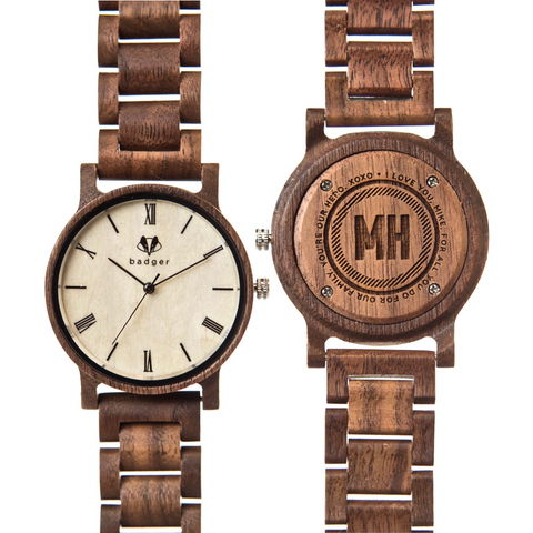 wooden watch with wooden acetate chain