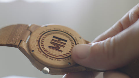 wooden watch with initials at back