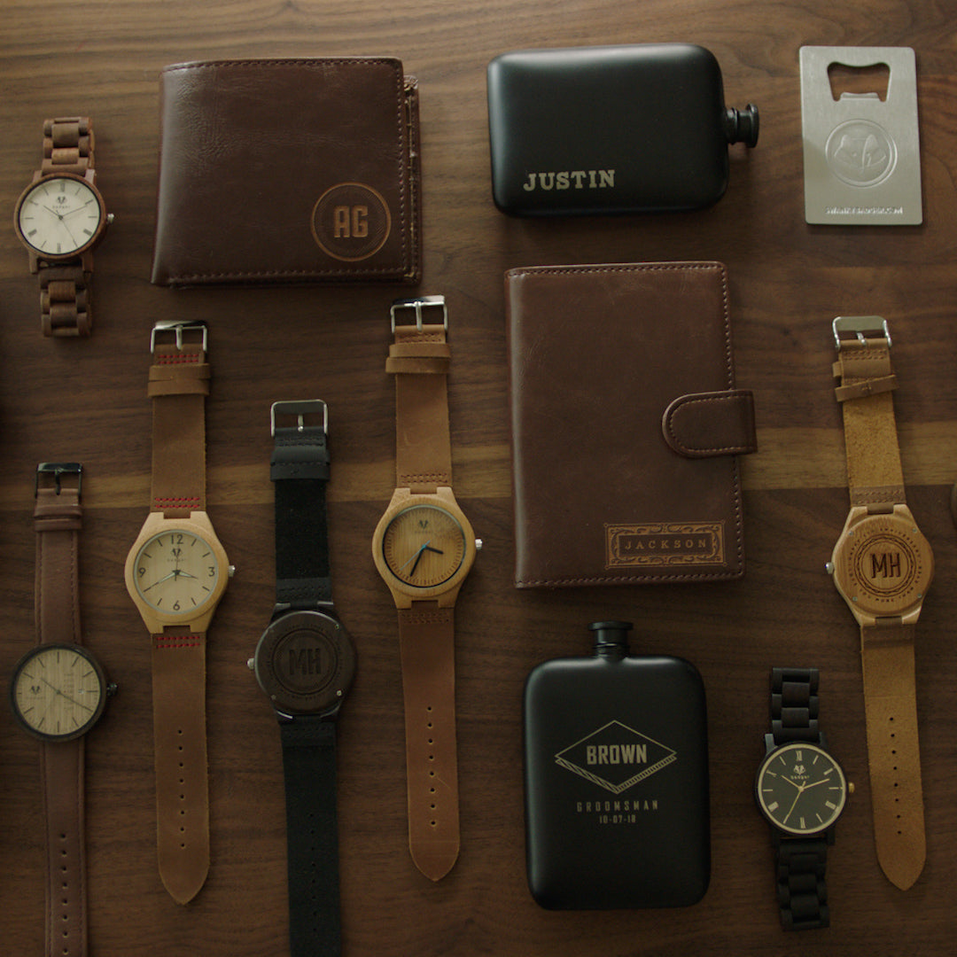 watches | wallets | hip flask | leather journal