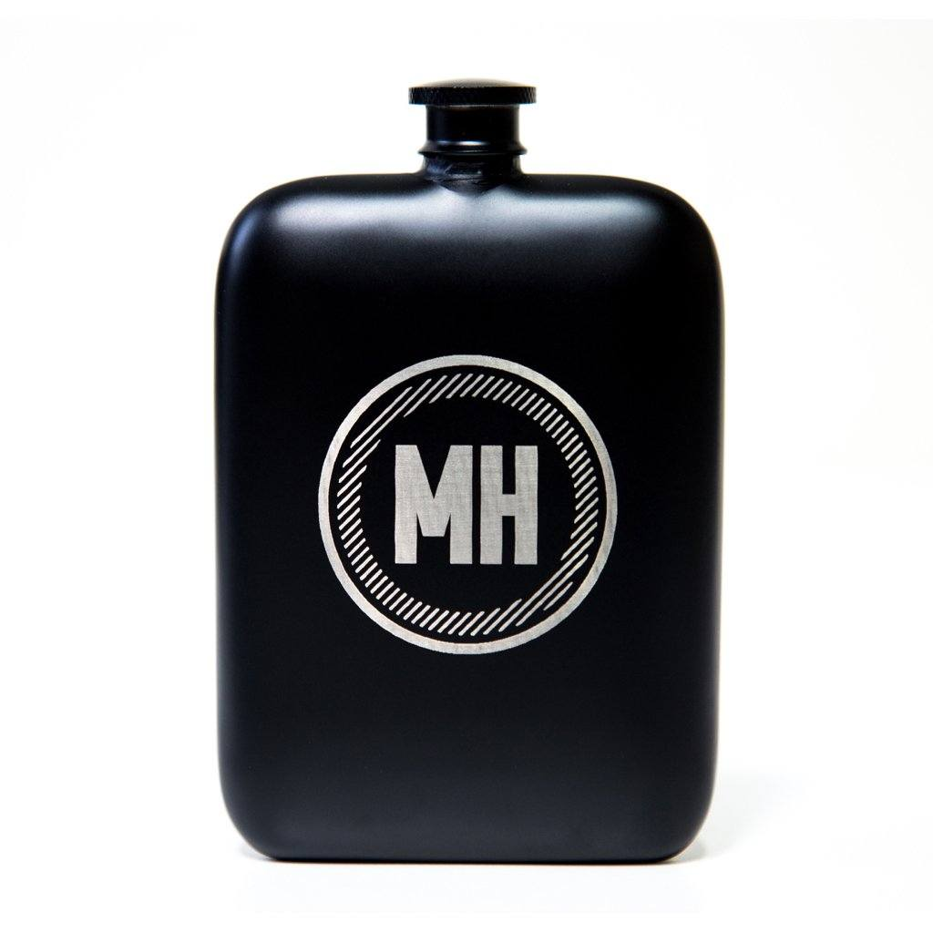 circle hip flask, hip flask, personalized hip flask, matte black hip flask, personalized gifts for men, black hip flask