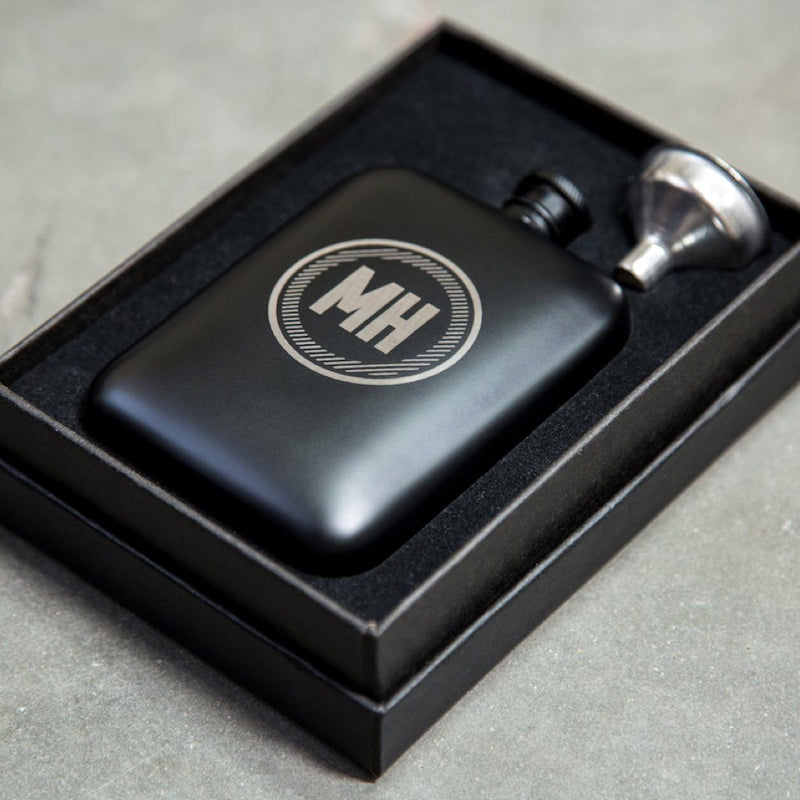 circle hip flask, hip flask, personalized hip flask, matte black hip flask, personalized gifts for men, black hip flask, personalized gift for him, personalized gift, Customized gift