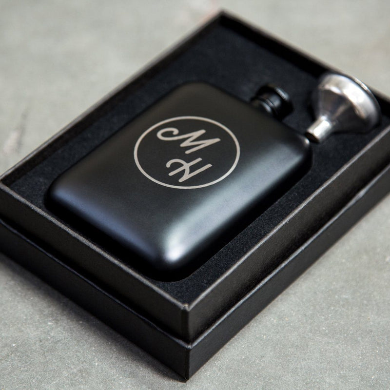 ramsey hip flask, personalized flask, hip flask, gift ideas for men, hip flask with engraved initials, hip flasks for men