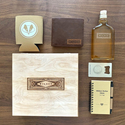 rustic personalized glass flask, personalized leather wallet, personalized cigar box, bottle opener, beer koozie