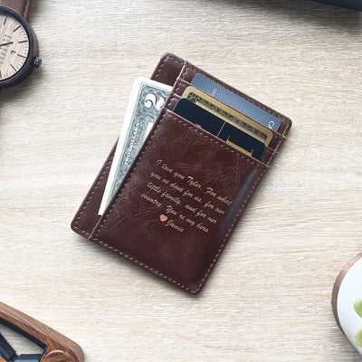 Personalized Pocket Wallet, Pocket Wallet Message, Leather Pocket Wallet, personalized gift for him, personalized gift, Customized gift