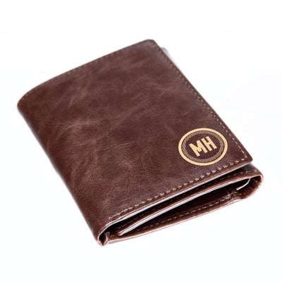 personalized trifold leather wallet, leather trifold wallet, gift for groomsmen, circle trifold wallet, brown trifold wallet