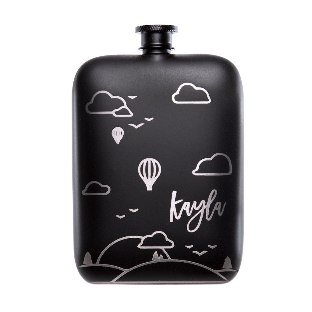 balloons hip flask, hip flask, personalized hip flask, matte black hip flask, personalized gifts for men, black hip flask
