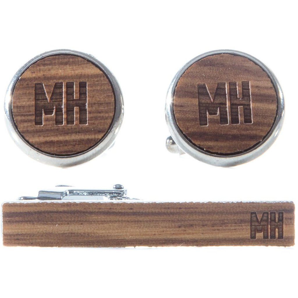 Cufflink & Tie Bar Set - Zebrawood
