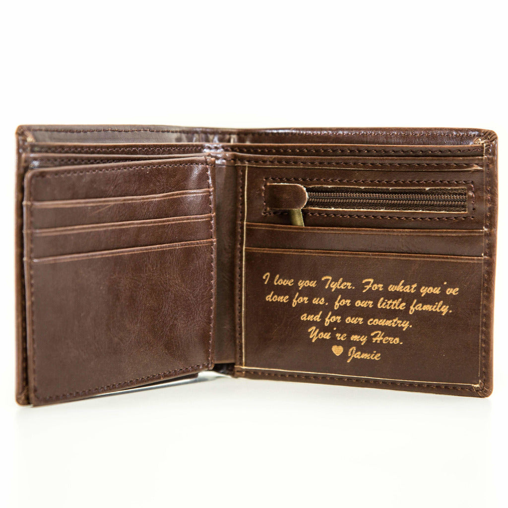 Personalized Leather Wallet - Circle | Swanky Badger