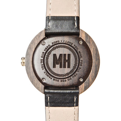 personalized watch with message engraved | personalized watch | wooden watch | black wooden personalized watch