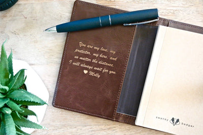 circled leather journal | personalized leather journal | groomsmen gift | customizable leather journals