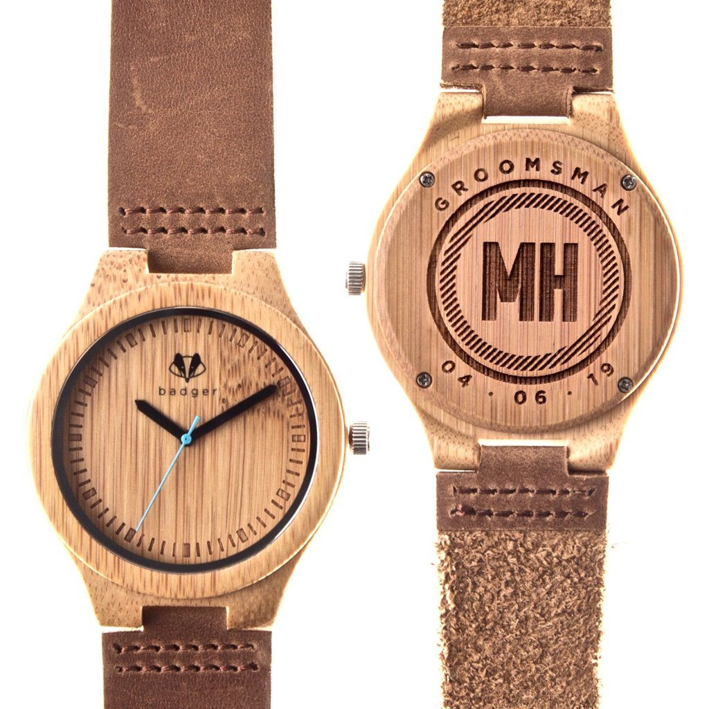 bamboo classic watches, customized bamboo watches, customized watches, unique gifts for grooms, wooden watches, personalized gift for him, personalized gift