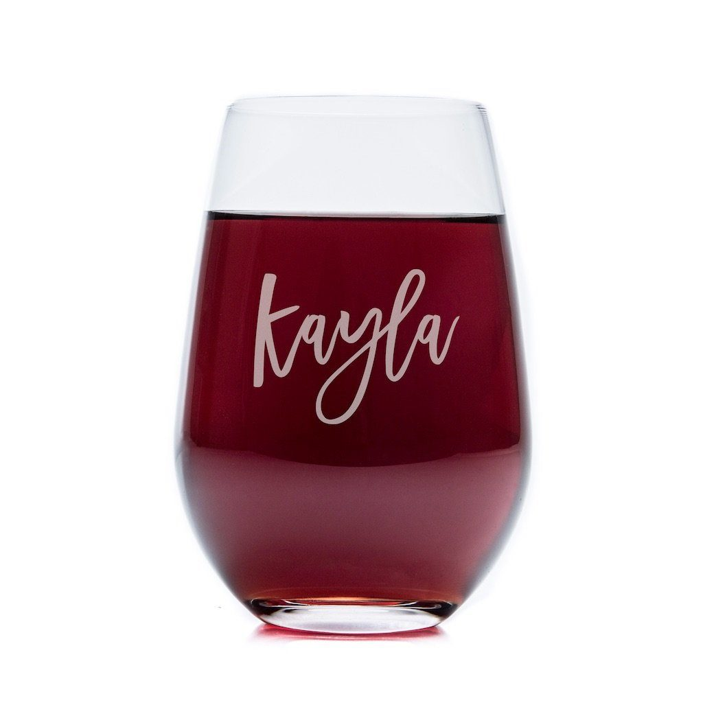 Stemless Wine Glasses - Set of 4: Script