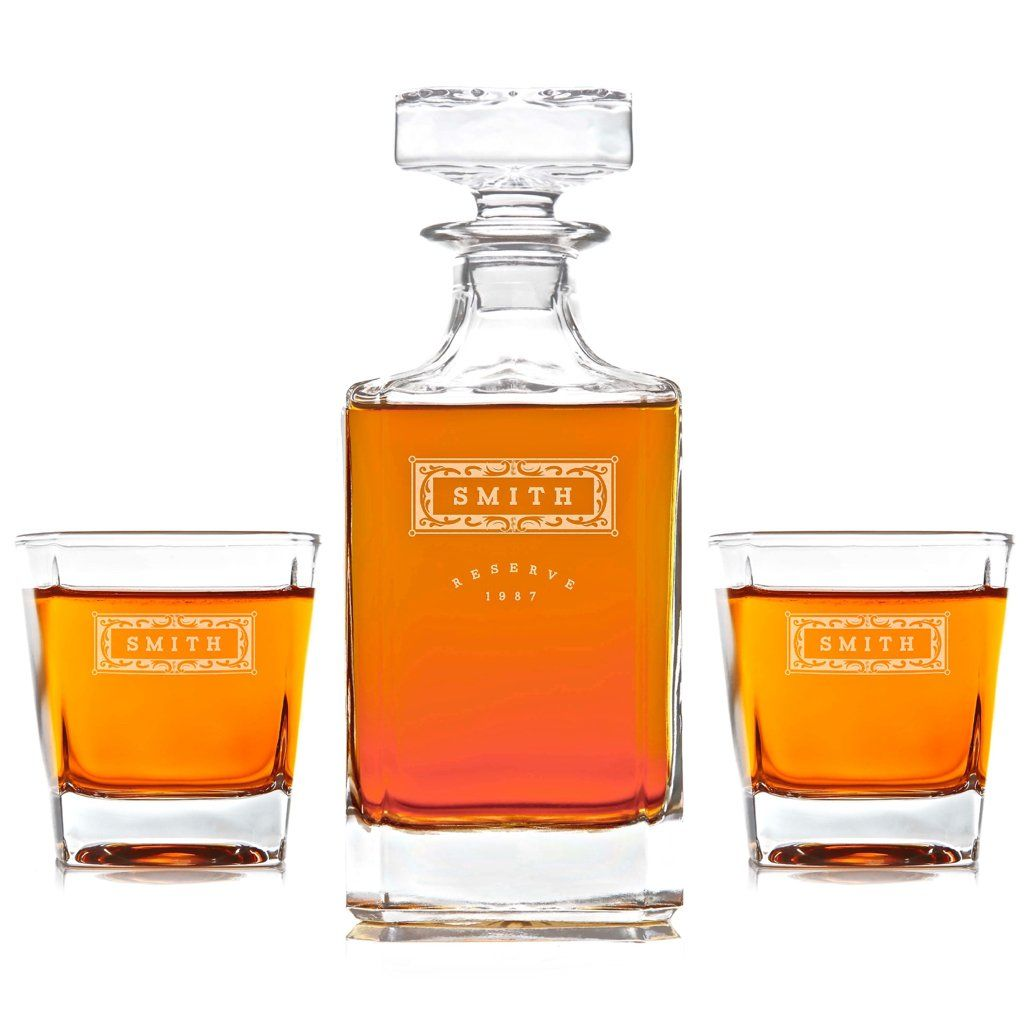 e2ec22d1d1bf Personalized Whiskey Decanters with Custom Engraving   Swanky Badger