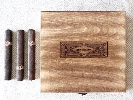 rustic wooden square shaped cigar box | personalized cigar box with engraved name
