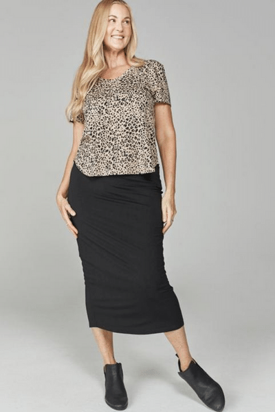 Leopard Veronica V Neck Tee by Lou Lou Australia currently available from Rawspice Boutique.