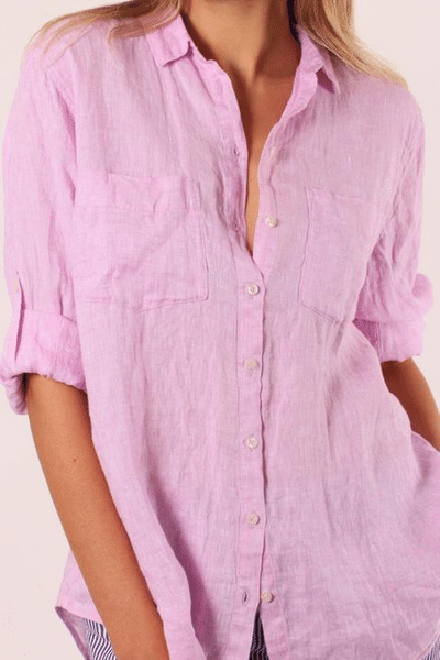 Musk Pink The Linen Boyfriend Shirt by Hut Clothing, currently available at Rawspice Boutique,