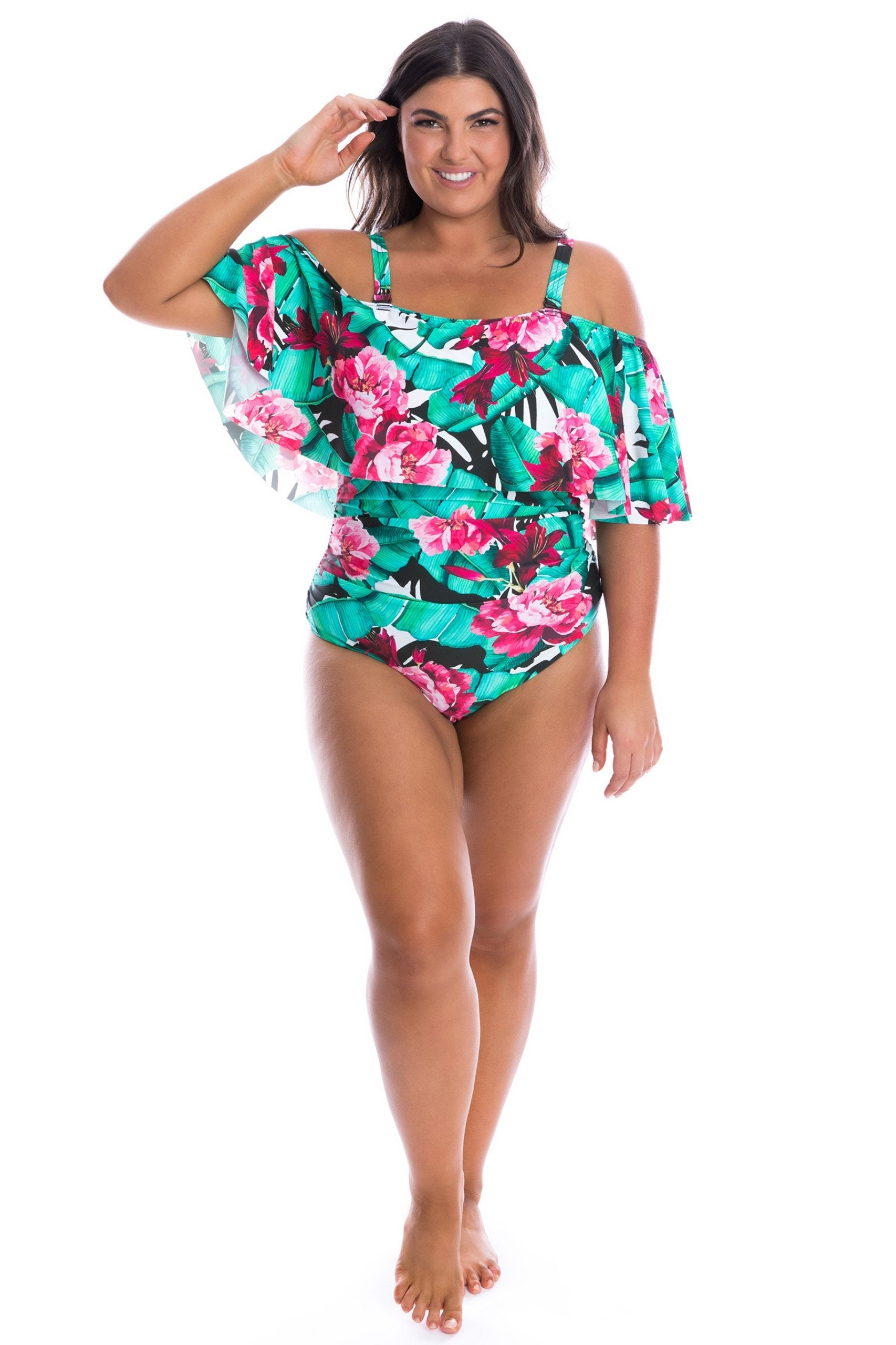 Off The Shoulder One Piece Costa Rica Print