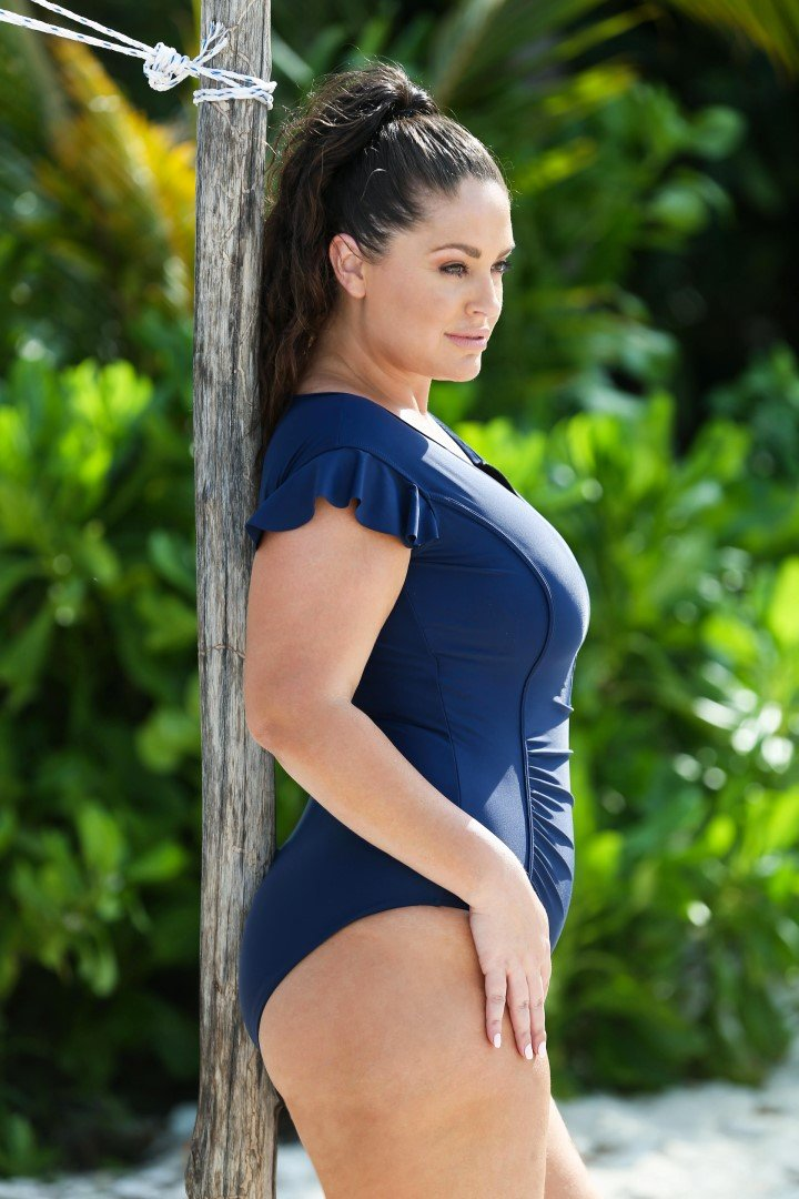 Frill Sleeve Zip front One Piece in Navy by capriosca swimwear from rawspice boutique