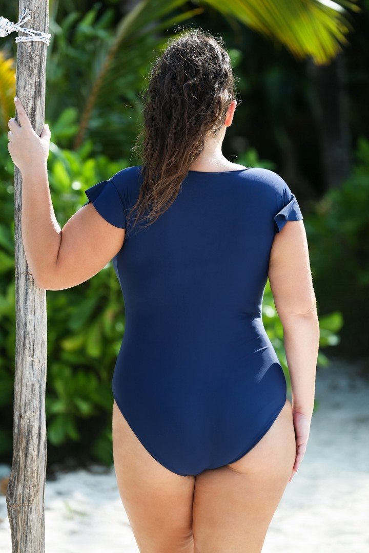 Frill Sleeve Zip front One Piece Navy