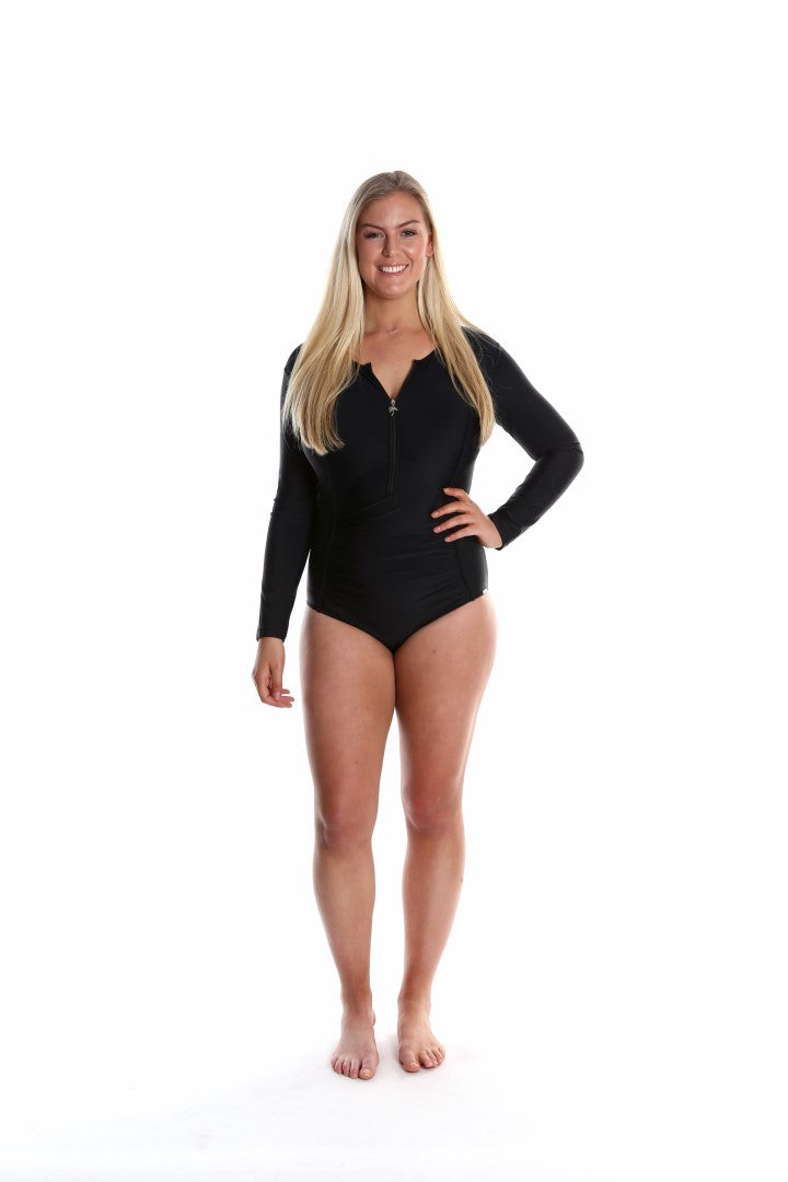 Zip Front Long Sleeve One Piece