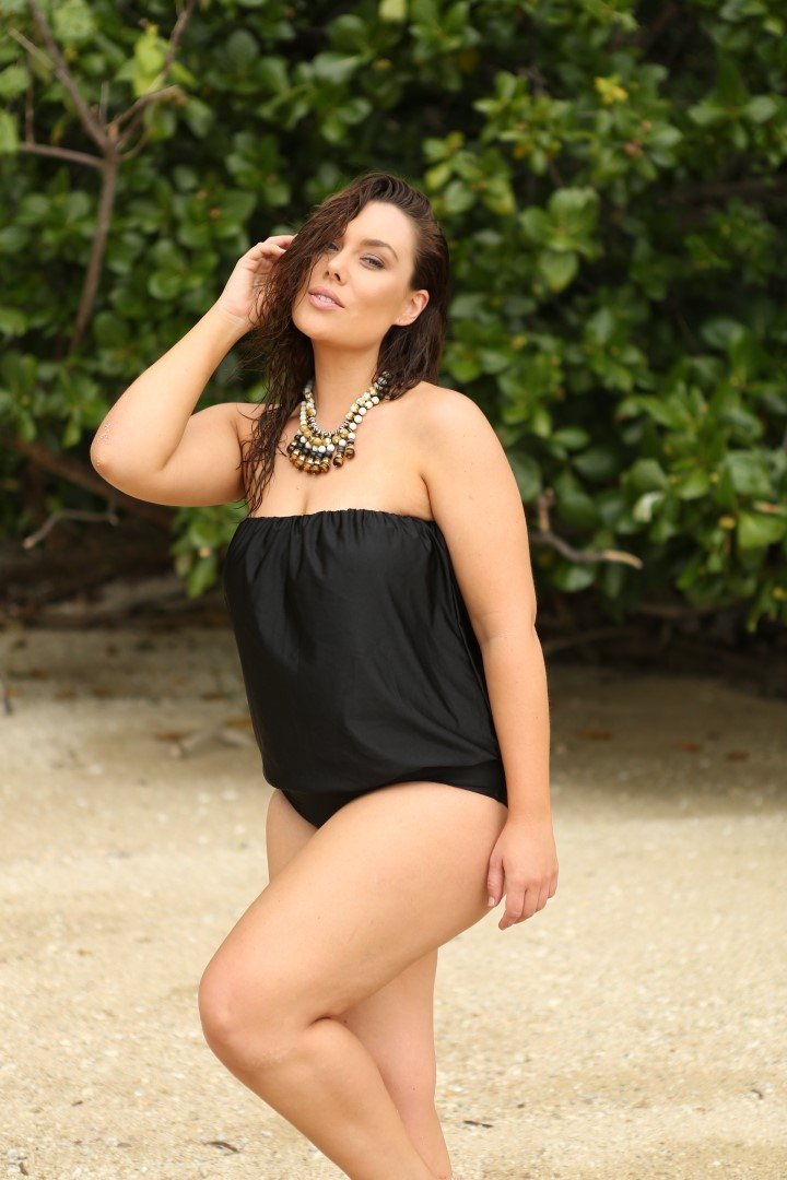 Flounce One Piece in black by capriosca swimwear from rawspice boutique