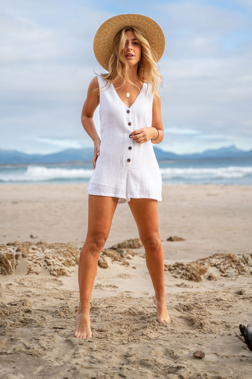 White Darcy Playsuit - by Barefoot Blonde currently available from Rawspice Boutique.