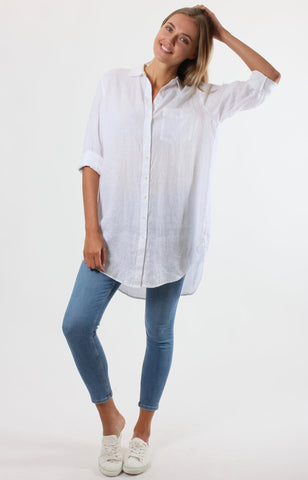 The Linen Boyfriend Shirt Blue White Leopard