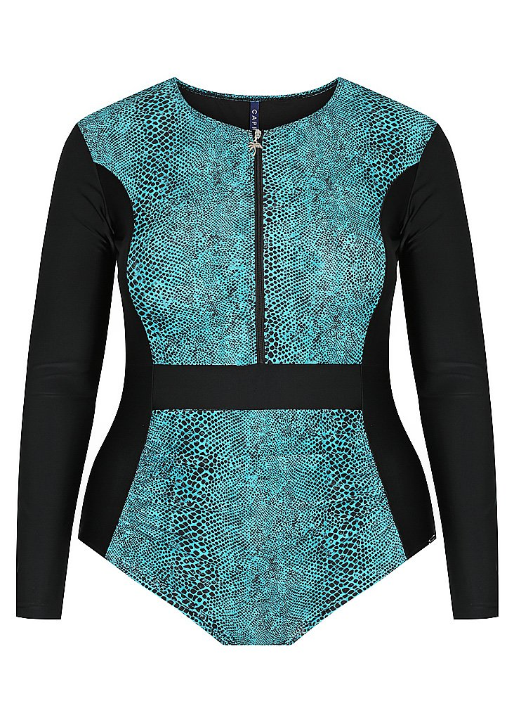 Turquoise Snake Long Sleeve Zip One Piece -currently available from Rawspice Boutique.