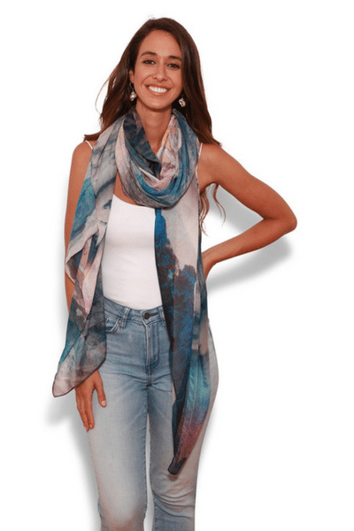 Utopian Mountainscape Scarf by The Artist Label currently available from Rawspice Boutique.