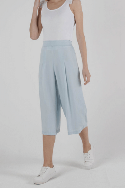 Chambray Frankie Pants -by Sass currently available from Rawspice Boutique.