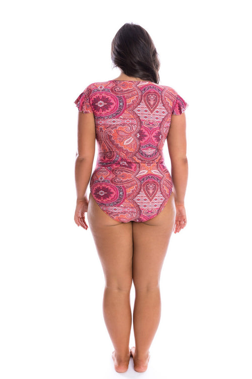 Bohemian sunset frill sleeve one piece by capriosca swimwear from rawspice boutique