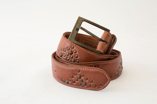 Tally Studded Belt Cognac