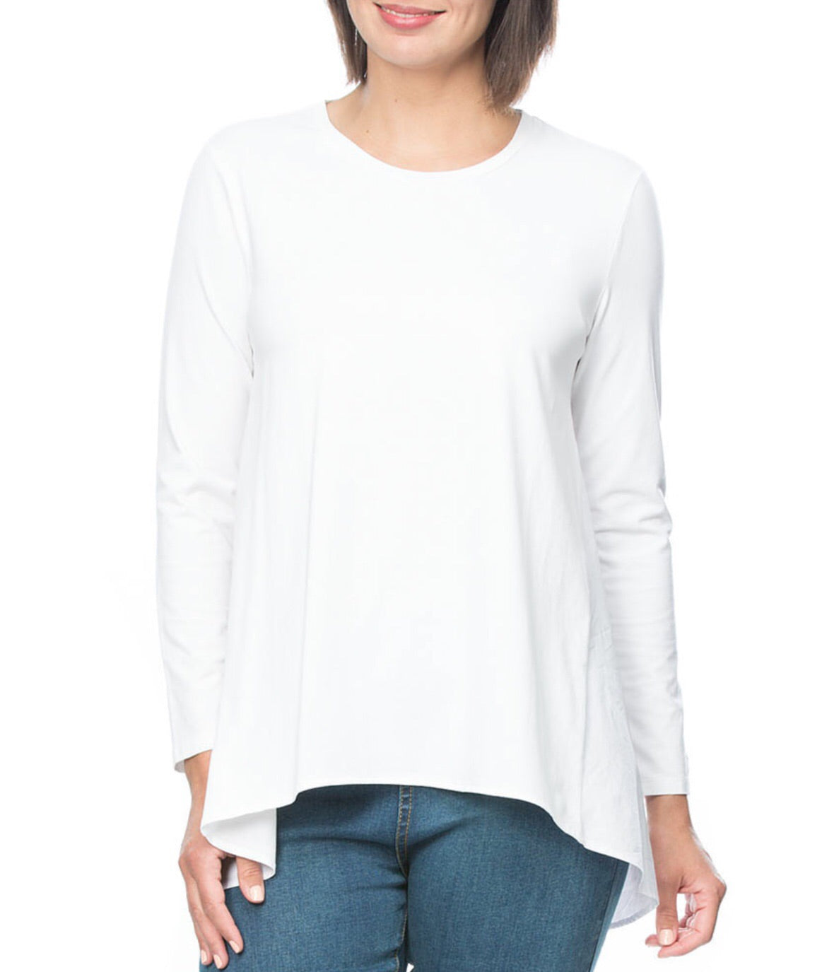 Spliced long sleeve tee white