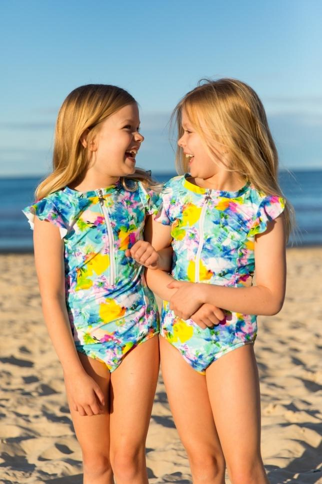 Tutti Fruitti Mini Frill Sleeve One Piece by Capriosca Swimwear currently available from Rawspice Boutique.