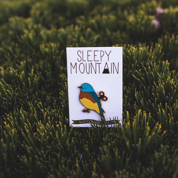 Wind-Up Bird Enamel Pin - SleepyMountain