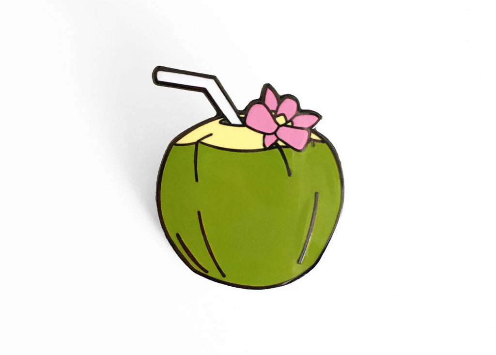 Coconut Enamel Pin - SleepyMountain