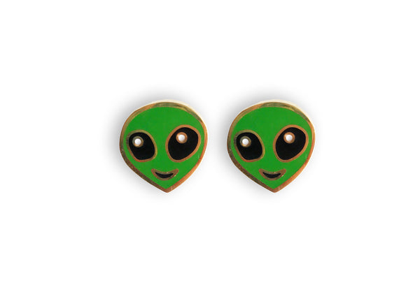 Alien Earrings - 22k Gold Plated