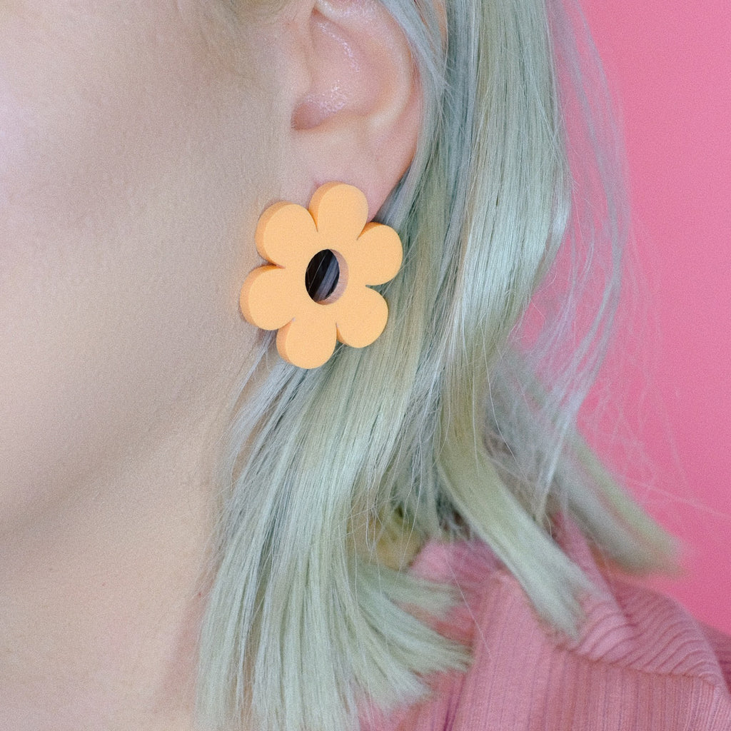 Daisy Earrings - Pastel Orange Acrylic Statement Studs - SleepyMountain